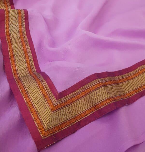 Purple chiffon saree with kanchi cotton border