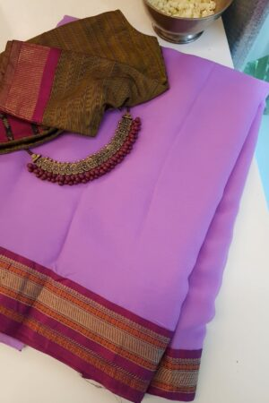 Purple chiffon saree with kanchi cotton border2