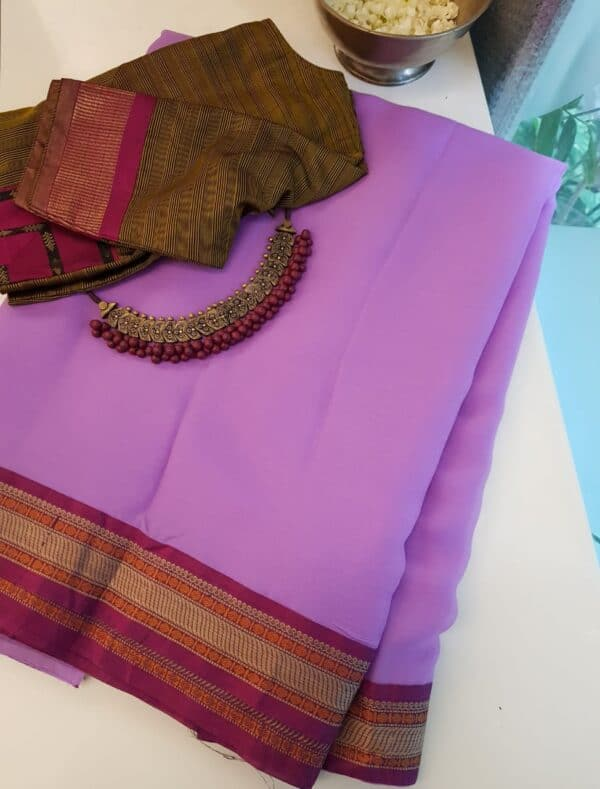 Purple chiffon saree with kanchi cotton border2