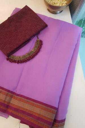 Purple chiffon saree with kanchi cotton border3