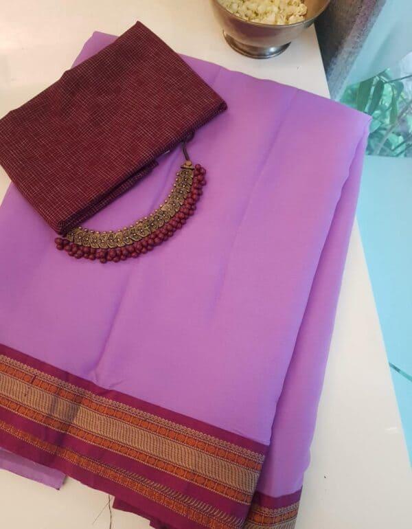 Purple chiffon saree with kanchi cotton border3