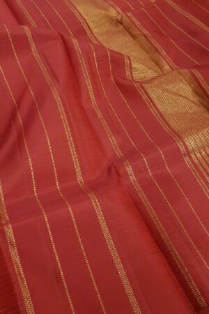 Red with burnt orange checks kanachipuram silk saree1