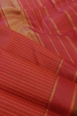 Red with burnt orange checks kanachipuram silk saree2