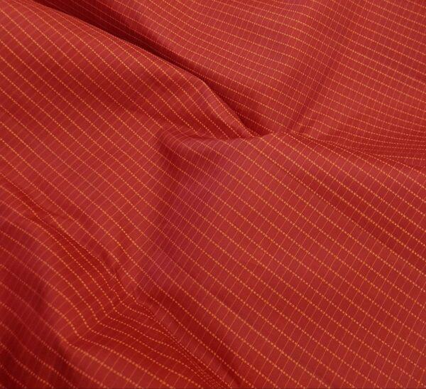 Red with burnt orange checks kanachipuram silk saree3