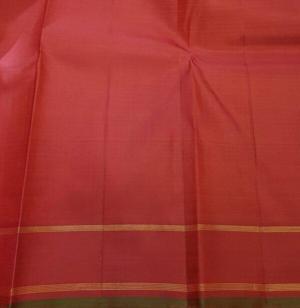 Red with burnt orange checks kanachipuram silk saree4