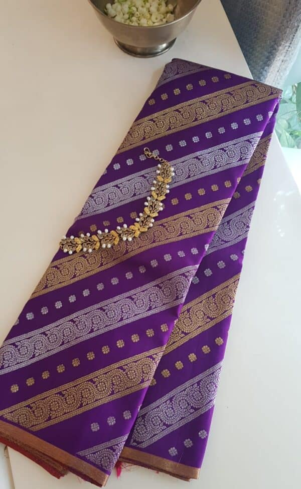 vViolet saree with gold and silver zari