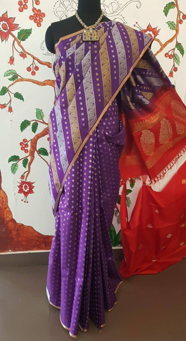 Violet saree with gold and silver zari1