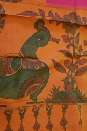 Orange with pink one side border peacock painting saree