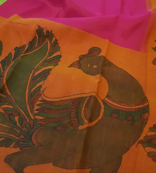 aOrange with pink one side border peacock painting kanchi silk saree