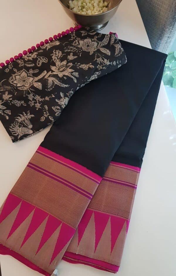 black with pink thread border