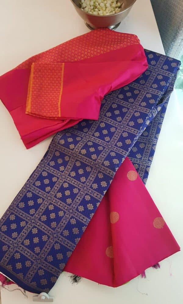 blue and pink saree