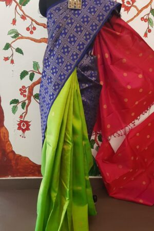 blue and pink saree1
