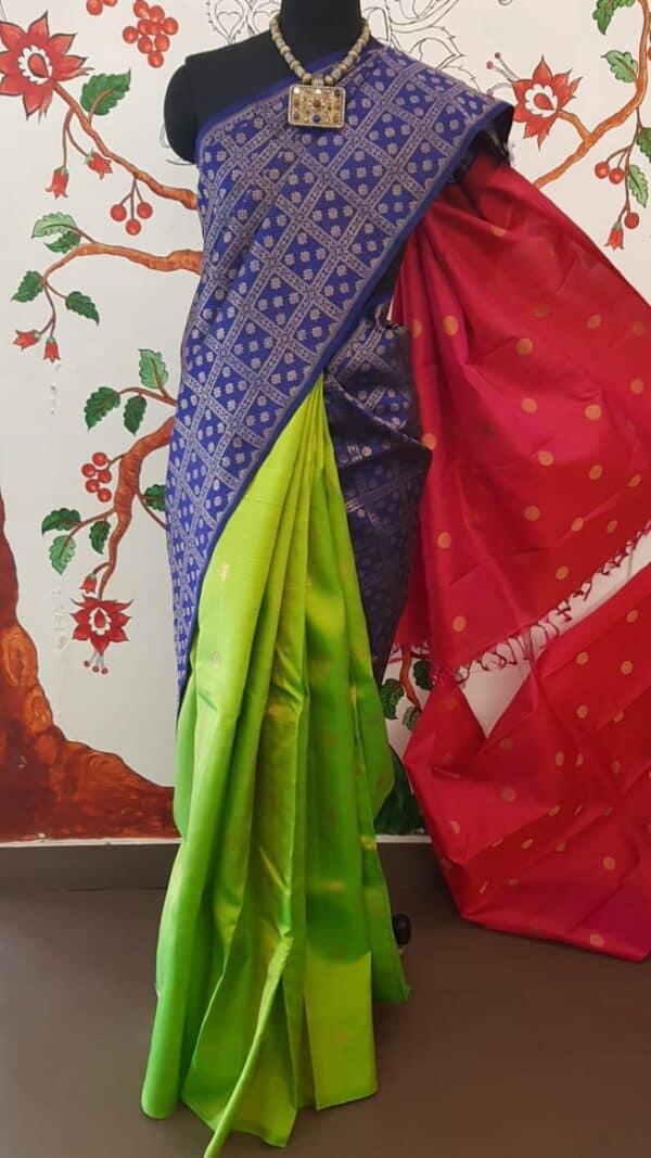 blue and pink saree1