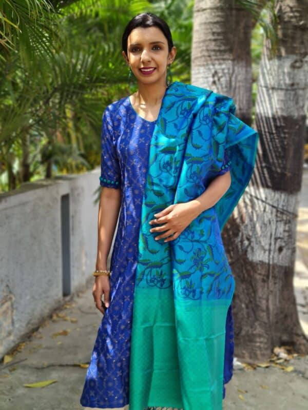 blue and teal green moonga tussar with silk dupatta