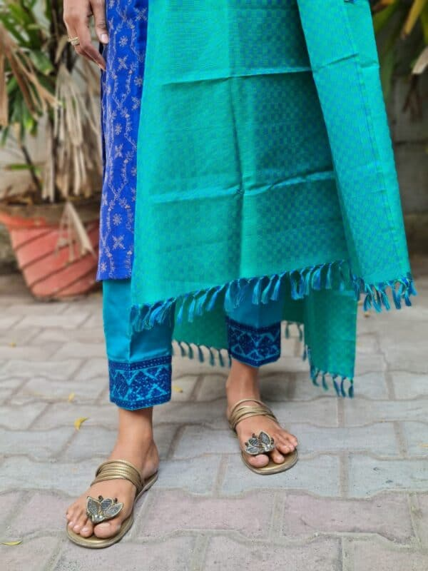 blue and teal green moonga tussar with silk dupatta1