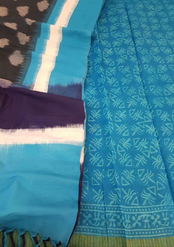 blue dhabu with ikat dupatta
