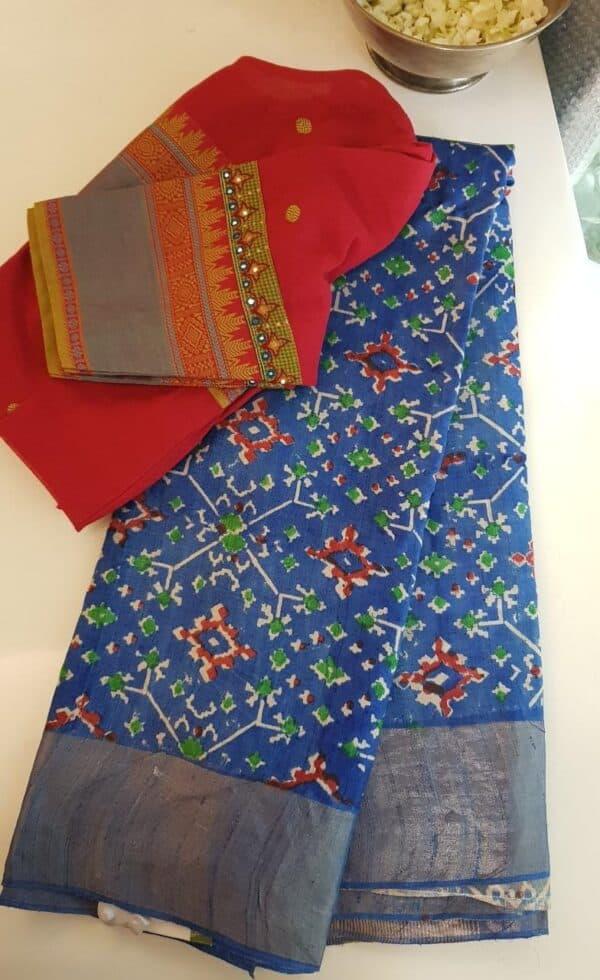 blue ikat print tussar saree