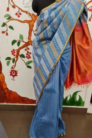 blue linen silk