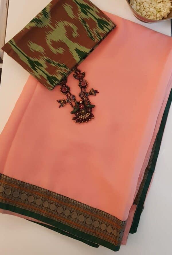 peach chiffon saree with kanchi cotton border