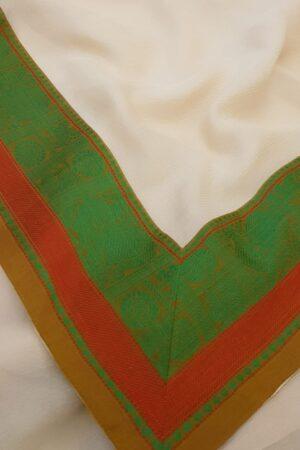 cream chiffon saree with green and rust border1