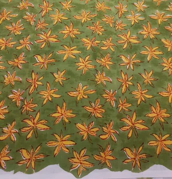 cream chiffon saree with green and rust border2