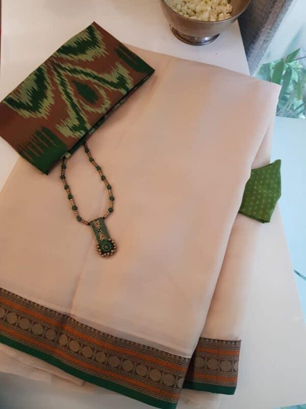 cream chiffon saree with rudraksham border2