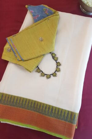 cream chiffon saree with temple border