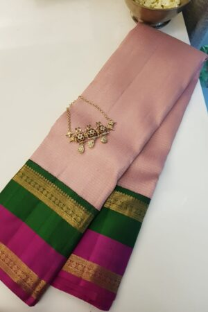 dusty pink with korvai double border kanchipuram silk sare