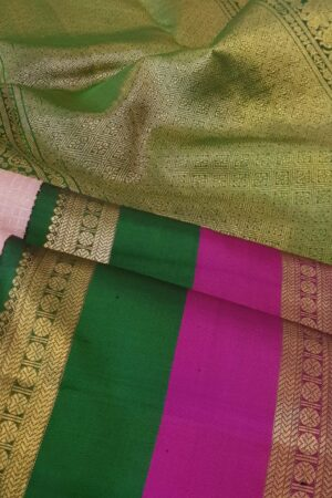 dusty pink with korvai double border kanchipuram silk saree2