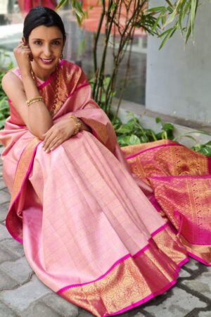 dusty pink with rani korvai border