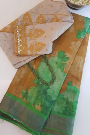 green and brown zari border saree