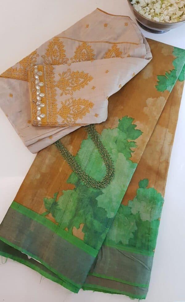 green and brown zari border saree