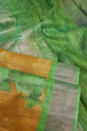 green and brown zari border saree2