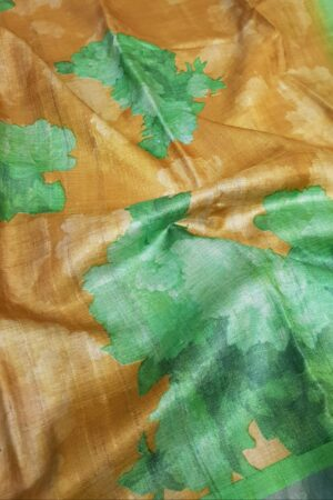 green and brown zari border saree3