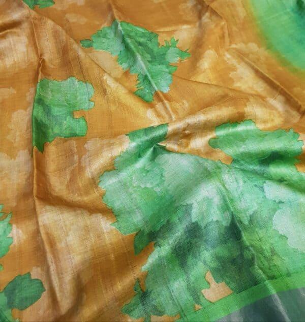 green and brown zari border saree3