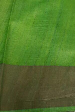 green and brown zari border saree4