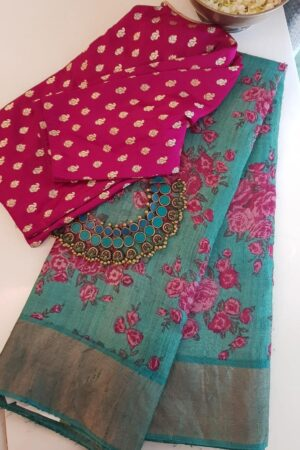 green with pink roses tussar saree