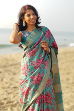 green with pink roses tussar saree4