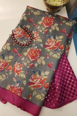 grey with floral prints and cut work pallu