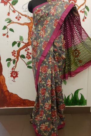 grey with floral prints and cut work pallu4