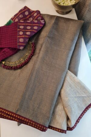 grey zari checks with beige pallu