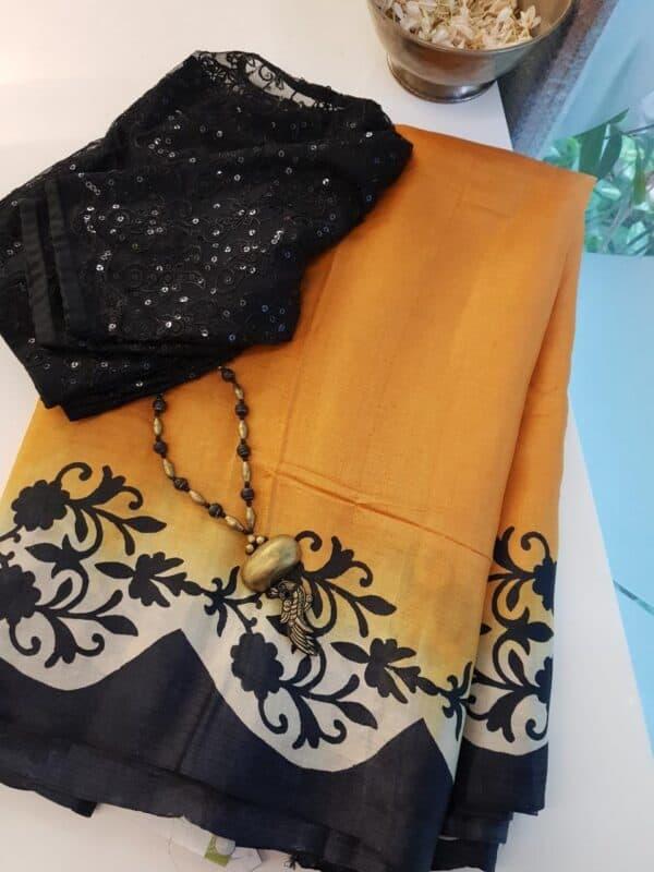 mustard and black tussar saree