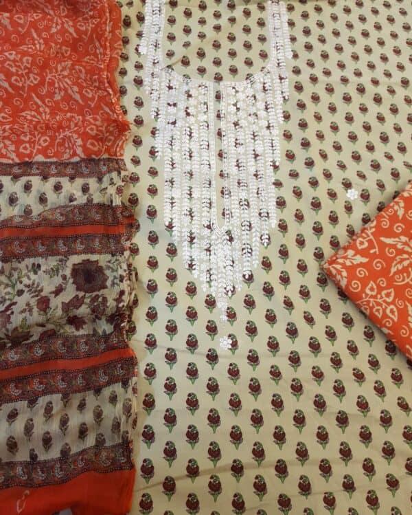 neck embroidered set
