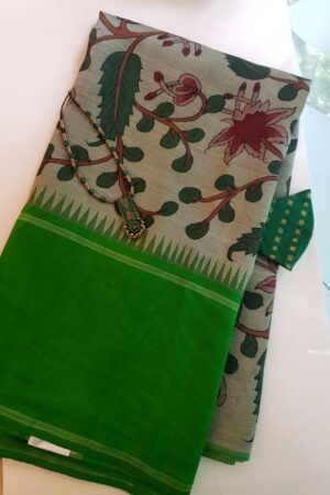 one side green korvai border kalamkari saree