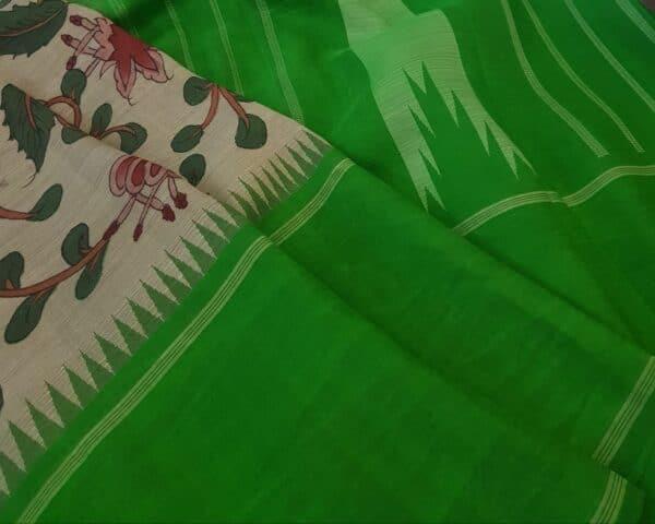 one side green korvai border kalamkari saree2