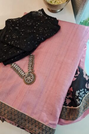 pale rose with black pallu