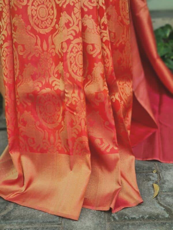 peach bridal saree1