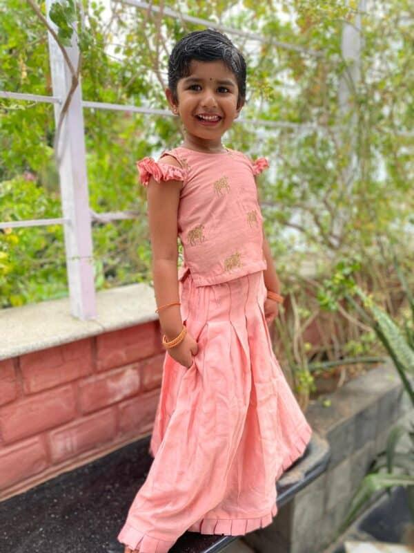 peach chanderi and moonga skirt