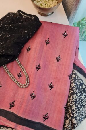 pink and black embroidered tussar saree