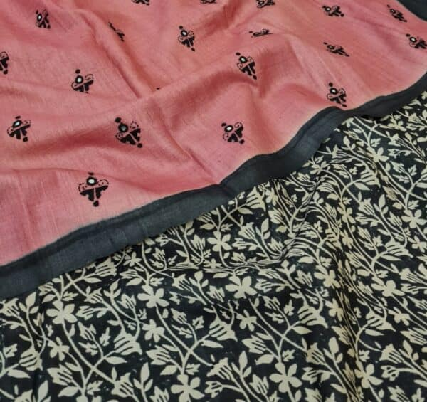 pink and black embroidered tussar saree2
